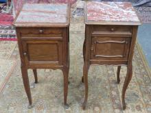 TWO SIMILAR VICTORIAN STYLE MARBLE TOPPED BEDSIDE CABINETS (ONE AT FAULT)