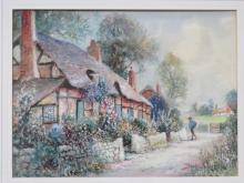J HUGHES CLAYTON, FRAMED WATERCOLOUR DEPICTING A COUNTRY COTTAGE SCENE, APPROXIMATELY 26cm x 34cm