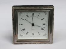 925 SILVER FRAMED MODERN MANTEL CLOCK