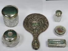 MIXED LOT OF SILVER TOPPED DRESSING JARS, TRINKET BOXES, DRESSING MIRROR, ETC.