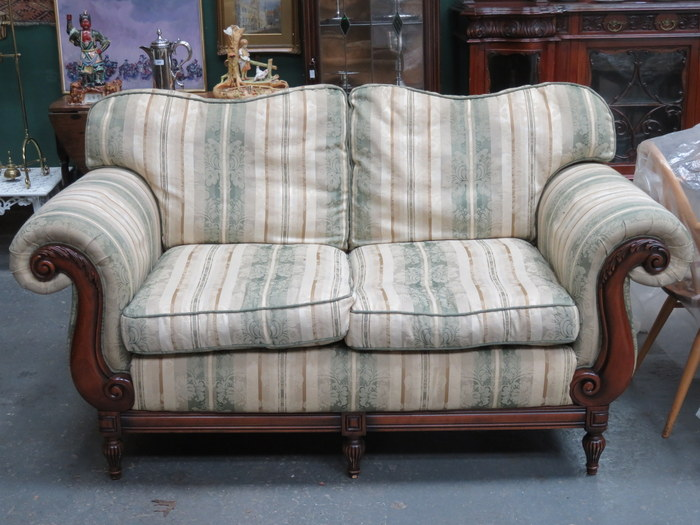 Reproduction Victorian Style Upholstered Three Seater Settee