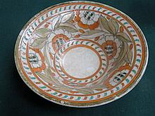 CHARLOTTE RHEAD TUBE LINED FLORAL DECORATED CERAMIC BOWL BY CROWN DUCAL, DIAMETER APPROXIMATELY 25cm