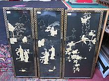 SET OF THREE ORIENTAL STYLE MOTHER OF PEARL AND GILDED BLACK LACQUERED PANEL
