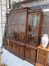 GOOD QUALITY REPRODUCTION MAHOGANY BREAKFRONT DISPLAY UNIT WITH FOUR ASTRAGAL GLAZED DOORS