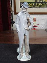 LLADRO GLAZED CERAMIC FIGURE OF A GENT WITH CASED MUSICAL INSTRUMENT
