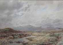 W BRADLEY, FRAMED WATERCOLOUR DEPICTING A COUNTRY SCENE WITH MOUNTAINS, APPROXIMATELY 36cm x 50cm