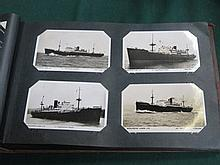 ALBUM OF VARIOUS POSTCARDS, ALL SHIPPING RELATED INCLUDING CUNARD, CANADIAN PACIFIC, NORTH WALES  SS BLUE FUNNEL LINE, UNION CASTLE LINE, MANCHESTER LINE AND OTHERS.  APPROXIMATELY 150+