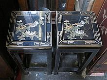PAIR OF GILDED BLACK LACQUERED ORIENTAL STYLE PLANT STANDS