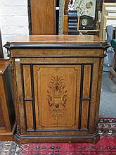 GOOD QUALITY ANTIQUE WALNUT SINGLE DOOR PIER CABINET, DECORATED WITH INLAY, ORMOLU MOUNTS AND TWO SMALL WEDGWOOD PANELS