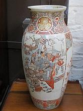 HANDPAINTED CERAMIC VASE DECORATED WITH ORIENTAL FIGURES, APPROXIMATELY 48cm HIGH