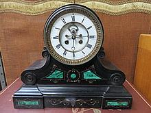 DECORATIVE BLACK SLATE MANTEL CLOCK WITH ENAMELLED DIAL, APPROXIMATELY 34cm HIGH