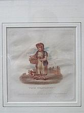 PAIR OF 19th CENTURY POLYCHROME ENGRAVINGS- FRESH STRAWBERRIES AND CHAIRS TO MEND, PUBLISHED BY F.J. FULLER, 1812