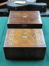 INLAID WALNUT VENEERED FITTED JEWELLERY CASKET AND OAK WRITING SLOPE