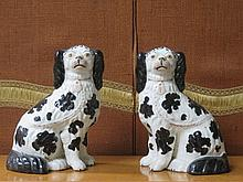 PAIR OF HANDPAINTED STAFFORDSHIRE SPANIELS, APPROXIMATELY 27cm HIGH