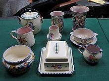 TEN PIECES OF POOLE POTTERY, VARIOUS DESIGNS (SOME AT FAULT)