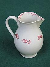LATE 18th CENTURY LIVERPOOL POTTERY  HANDPAINTED AND FLORAL DECORATED SPARROW BEAK JUG, APPROXIMATELY 10cm HIGH