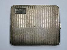 HALLMARKED SILVER MACHINE TURNED CIGARETTE CASE, BIRMINGHAM ASSAY, DATED 1932, BY BRAVINGTONS LTD.