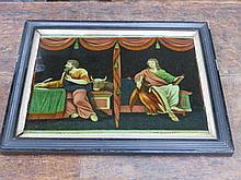 EBONISED FRAMED REVERSE PAINTING ON GLASS DEPICTING ST. LUKE AND JOHN, APPROXIMATELY 25cm x 34cm