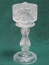 DECORATIVE GLASS LAMP BASE WITH SHADE. APPROX 39cm HIGH