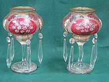 PAIR OF GILDED AND FLORAL DECORATED VICTORIAN GLASS LUSTRES WITH DROPLETS O
