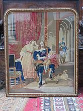 VICTORIAN TAPESTRY WITHIN GLIDED WOODEN FRAME.  APPROX 59cm X 64cm