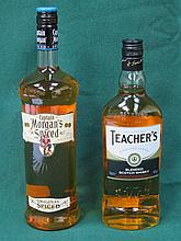 UNOPENED BOTTLE OF CAPTAIN MORGANS SPICED RUM AND UNOPENED BOTTLE OF TEACHE