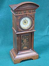 MARQUETRY INLAID MAHOGANY MINIATURE LONG CASE CLOCK WITH ENAMELLED DIAL. AP
