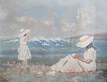 LEE REYNOLDS OIL ON CANVAS DEPICTING TWO LADIES BY THE SEA.  120cm X 150cm