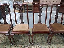 SET OF FOUR MAHOGANY QUEEN ANNE STYLE HIGH BACK DINING CHAIRS