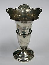 HALLMARKED SILVER VASE, BIRMINGHAM ASSAY, DATED 1970 BY CHARLES S. GREEN AN