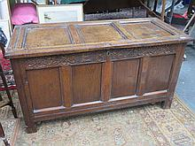 EARLY VICTORIAN CARVED OAK BLANKET CHEST BELIEVED TO HAVE COME FROM CROXTET