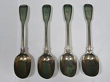 SET OF FOUR SILVER SPOONS, LONDON ASSAY BY GEORGE WILLIAM ADAMS