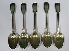 SET OF FIVE HALLMARKED SILVER SPOONS, LONDON ASSAY BY GEORGE WILLIAM ADAMS