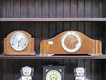 TWO OAK CASED ART DECO STYLE MANTEL CLOCKS
