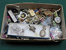 PARCEL OF VARIOUS COSTUME JEWELLERY VICTORIAN SILVER LOCKET, SILVER RATTLE