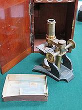 MAHOGANY CASED BRASS MICROSCOPE BY R. FIELD & SONS, BIRMINGHAM