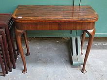 ANTIQUE MAHOGANY FOLD OVER CARD TABLE ON CABRIOLE SUPPORT