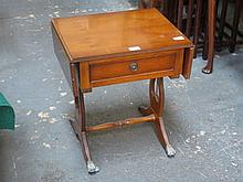 SMALL REPRODUCTION YEW COLOURED DROP LEAF SIDE TABLE WITH SINGLE DRAWER