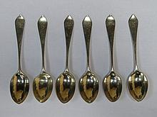 SET OF SIX HALLMARKED SILVER TEASPOONS, LONDON ASSAY, DATED 1900, BY JAMES