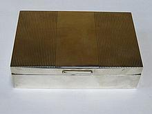 HALLMARKED SILVER CIGARETTE BOX, LONDON ASSAY, DATED 1956, BY PADGETT & BRA