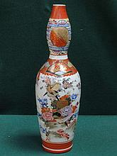 HANDPAINTED AND GILDED ORIENTAL DECORATED DOUBLE GOURD VASE, APPROXIMATELY