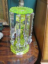 19th CENTURY DECORATIVE URANIUM GLASS LUSTRE CANDLESTICK WITH DROPLETS, APP