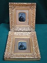 PAIR OF 19th CENTURY ORNATELY GILT FRAMED DAGUERREOTYPE STYLE PHOTOGRAPHS D