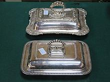 PAIR OF SILVER PLATED ENTREE DISHES WITH COVERS