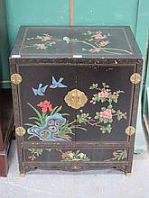 DECORATIVE BLACK LACQUERED TWO DOOR SIDE CABINET, HANDPAINTED AND GILDED WI