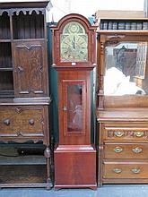 REPRODUCTION MAHOGANY GRANDMOTHER CLOCK WITH BRASS DIAL BY E.J. GOODFELLOW,