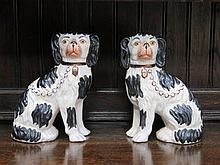 PAIR OF HANDPAINTED AND GILDED STAFFORDSHIRE CERAMICS SPANIELS, APPROXIMATE