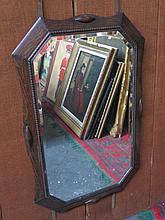 OAK FRAMED BEVELLED WALL MIRROR, APPROXIMATELY 85cm x 56cm