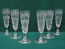 SET OF SIX TALL STEMMED DRINKING GLASSES WITH GRAPE AND VINE DECORATION