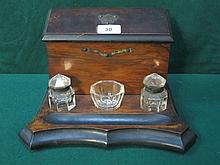 ANTIQUE WALNUT DESK STAND WITH GLASS INKWELLS AND HINGED TOP